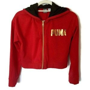 PUMA Girls Red Full Zip Hoodie Jacket Size L 12/14
